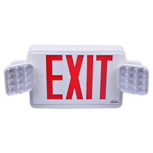 Red Combo Exit Sign Emergency Light visionis Vis esrwel Double Sided