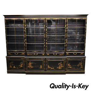 Large George Iii Style Chinoiserie Decorated Black Japanned Breakfront Bookcase