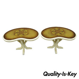 Pair Vtg Hollywood Regency French Kidney Bean Shaped Side Tables Gold Glass Top