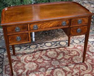 1920s Antique English Regency Sheraton Inlaid Mahogany Leather Top Writing Desk