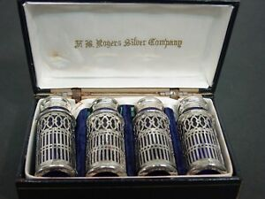 F B Rogers Silver Co Cobalt Blue Silver Plate Salt Pepper Shakers In Box