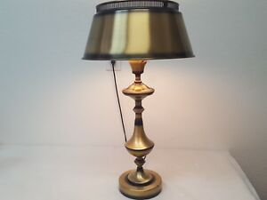 Brass Table Lamp Vintage Bouillotte Style Shade Milk Glass Globe Key Switch