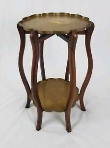 Vintage Moroccan Brass Tray Table With Folding Wood Stand 2 Tier Persian Asian