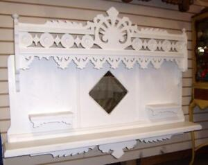 Vintage Mantle Foyer Wall Mirror Shelf Wood Victorian Shabby Country Chic