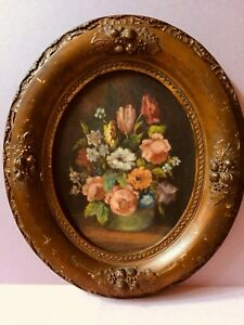 Antique Victorian Carved Wood Bronze Color Ornate Oval Picture Frame