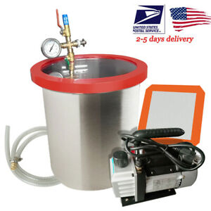 5 Gallon Vacuum Chamber And 3cfm 1 4hp Single Stage Pump To Degassing Silicone