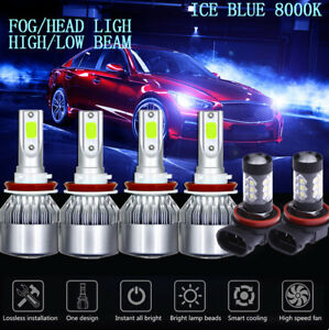 6x Cob Led Headlight Hi lo fog Light For Nissna Sentra 13 18 8000k Ice Blue Bulb