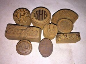 Vintage Printer Press Metal Block Letterpress Stamps Dies Solid Steel Lot Of 9