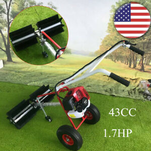 43cc Gas Power Sweeper Driveway Grass Snow Cleaning Broom 1 7hp Walk Behind Usa