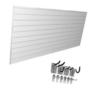 Proslat 33006 Mini Bundle With Slat Wall Panels And Mini Hook Kit White