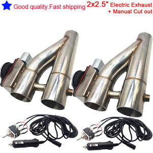 Universal 2 X Patented 2 5 Electric Exhaust Switch Cut Out Dump Down Pipe Kit