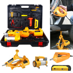 12v Electric Hydraulic Jack Tire Inflator Pump Impact Wrench Car Repair Tool Kit