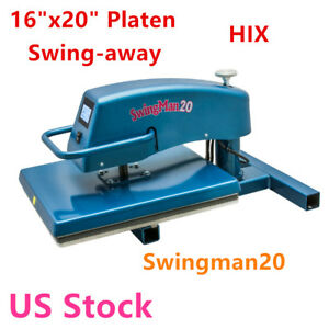 Us Stock Hix 16 x20 Platen Swingman20 Digital Manual Swing away Heat Press