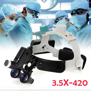 Dental Led Surgical Headlight 3 5x420mm Leather Headband Loupe With Light Bright