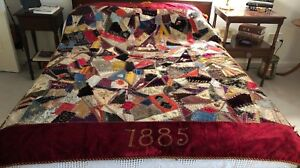 Interesting Antique Victorian Crazy Quilt Dated 1885 Size 54x75