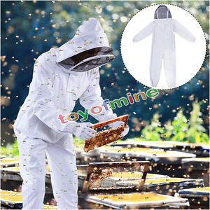 New Professional Cotton Full Body Beekeeping Bee Keeping Suit W Veil Hood Us