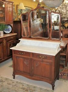 French Oak Louis Xv Mirrored Dresser With 2 Drawers 2 Doors Washstand Sink