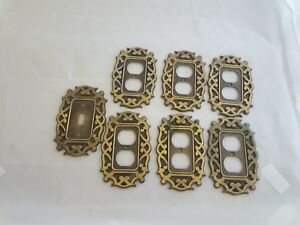 7 Vintage National Lock Ornate Bronze Light Switch Plate Covers Single