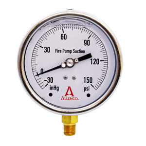 4 Allenco Liquid Filled Fire Pump Suction Gauge Negative 30 150 Psi pressure