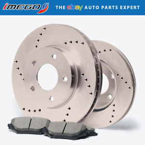 Front Rotors W Ceramic Pads Drilled Brakes 1998 1999 2000 Ford Contour Svt