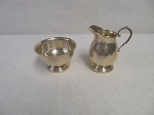 Vintage Sterling Silver Creamer And Sugar Bowl By Poole Pattern 300
