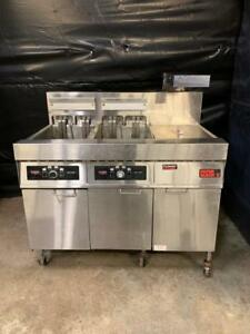 Frymaster Fmh214se Electric Two Bank Fryer W Dump Station Filtration