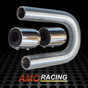 Stainless Steel 24 Flexible Upper Or Lower Radiator Hose Kit W Polished Caps