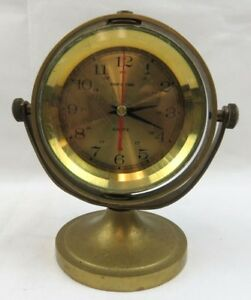 Vtg Quartz Ship S Time Clock Marine Heavy Brass Nautical