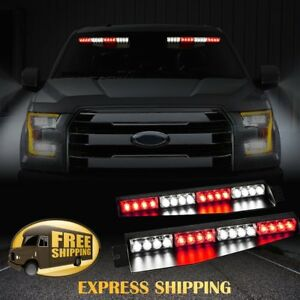 34 32 Led Car Emergency Warning Visor Split Deck Strobe Light Bar 12v Red White