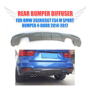 Rear Bumper Diffuser Dual Outlet Lip Fit For Bmw F34 Gt M sport Glass Fiber
