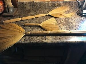 Lot Of 3 Vintage Straw Hearth Whisk Brooms Fall Decor