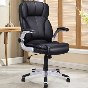 Executive Office Chair Big Man Desk Wheels Arms Heavy Duty Leather Home Black