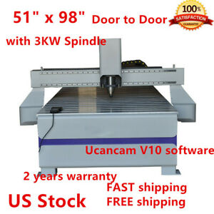51 X 98 1325 Ad And Woodworking Cnc Router Machineer Machine 3kw Spindle Usa