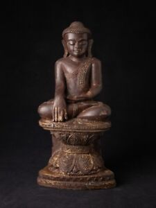 Middle Late 20th Century Old Wooden Buddha Statue From Burma