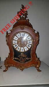 0146 Boulle Style Hermle Mantle Clock Walnut And Bronze Louis Xv