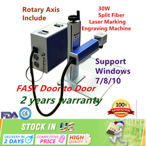 Us Stock 30w Split Fiber Laser Marking Engraving Machine Rotary Axis Include
