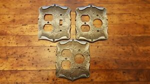 Vtg Brass Amerock Carriage House Silver Light Switch Plate Outlet Cover Combo
