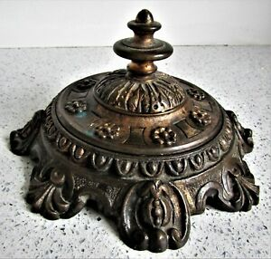 Old Antique Bronze With Gilt Incense Burner Censor Cover Chinese Oriental Asian