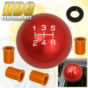 For Nissan M10x1 5 5 Speed Ball Gear Shift Knob Threaded A T Transmission Red