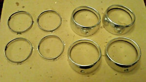 60 Ford Car Headlight Bezels Rings Trim Surrounds Grille Galaxie 1960 Retainers
