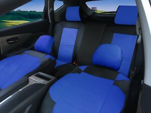 Full Set Auto Car Seat Covers Fit 40 60 Or 60 40 Rear Split Bench Seats Bk blue