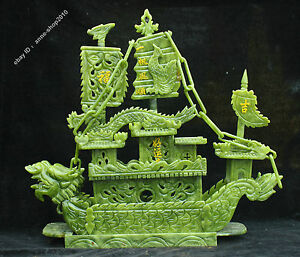 Chinese Natural Dushan Green Jade Jadeite Carved Dragon Phoenix Boat Sculpture