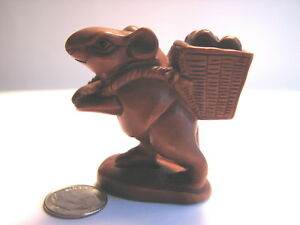 Wooden Hand Carved Netsuke Sculpture Mouse Carrying A Basket