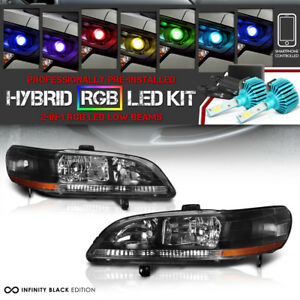 multi color Led Low Beam 1998 2002 Honda Accord Black Amber Headlight Pair Led