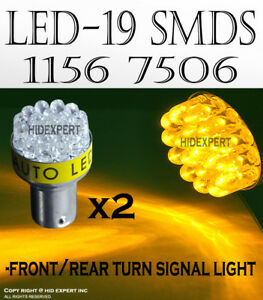 2 Pairs 1156 1141 Led 19 Smds Yellow Replacement For Tail Brake Light Bulbs B198