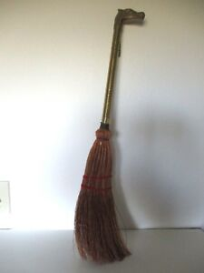 Vintage Horse Head Brass Handle Hearth Broom 29 Long