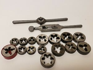 Vintage Machinist Lot bay State Sw Card More Tap Wrench round Threading Dies