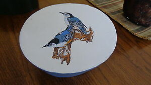 Shaker Style Pantry Box Hand Painted Pair Of Nuthatches Folk Art
