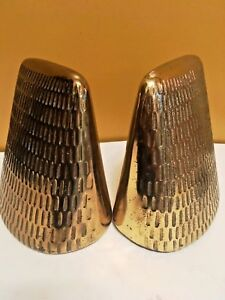 Vintage Jenfred Ware By Ben Seibel Brass Patina Pyramid Bookends 1950s