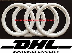 15 Inch Rim White Wall Rubber Disc Ring Round Topper Tire Trim Port a wall Set 4